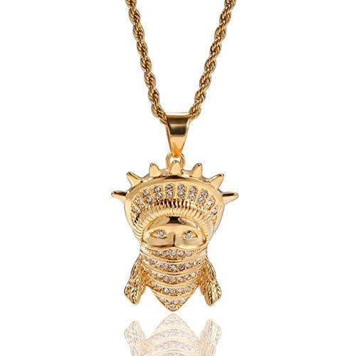 LIUSHI J.Memi.Men Collares de Hip Hop con Diamantes de imitación de Acero Inoxidable Estatua de la Libertad enmascarada 18K Colgante Chapado en Oro Joyería de Moda Aniversario de Navidad Regalo de