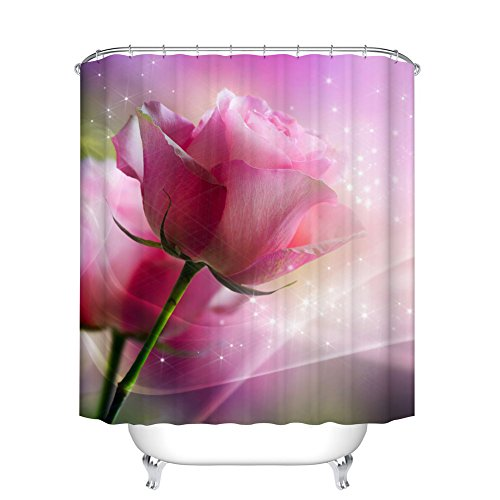 Fangkun Rose 3D Printing Shower Curtain Art Bathroom Decor - Waterproof Polyester Fabric Pink Bath Curtains Set - 12pcs Shower Hooks - 72 x 72 inches