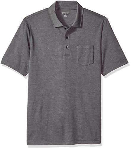 Amazon Essentials Men's Regular-Fit Pocket Jersey Polo, Charcoal Heather, Small