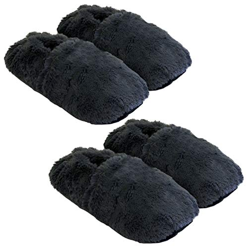 Thermo Sox 2 Paar aufheizbare Hausschuhe Gr M 36-40 Dunkelgrau Körnerpantoffeln für Mikrowelle und Ofen - Mikrowellenhausschuhe Wärmepantoffeln Wärmehausschuhe Supersoft