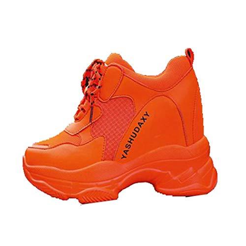 Primavera otoño Transpirable Mujeres Zapatos Casuales Moda Tacones Altos cuñas Zapatillas 11CM Zapatillas de Suela Gruesa Zapatos de Plataforma