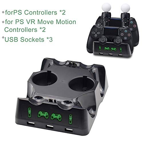 Tihokile-Base di Ricarica per Il Controller PS4, può Riempire la Console PS4 e Il Controller PS4 VR, per Play Station (4, VR, Pro, Slim), Design ad Alimentazione Rapida, con Indicatore Intelligente