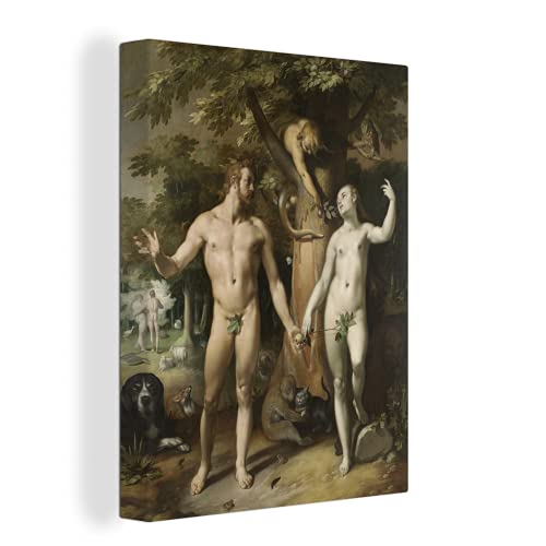 MuchoWow Photo sur toile - La chute - Peinture de Cornelis Cornelisz. van Haarlem - 30x40 cm - Avec Cadre