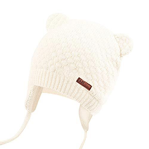 JOYORUN Unisex - Baby Mütze Beanie Strickmütze Unifarbe Wintermütze Weiß 43-46cm (Hersteller Größe: M)