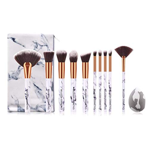 BELLEZZA COSMETICS Premium Pinselset 10x Pinsel + 1x Make Up Schwamm + 1x Kosmetiktasche im Marmor-Look, Brush Set, Vegan