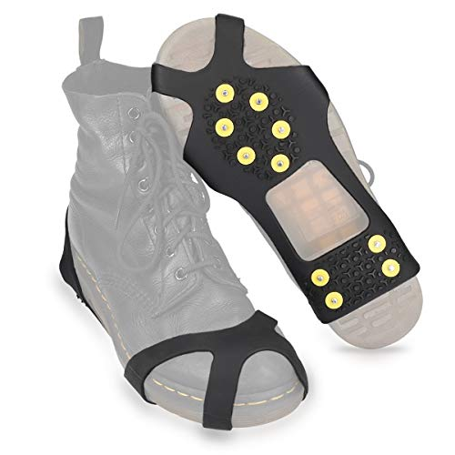 Navaris Spikes für Schuhe - Silikon Schuhspikes mit 10 Metall Stollen - Schnee EIS Wandern Sport - Schuhkrallen für Damen Herren Kinder