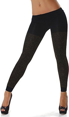 Unbekannt Leggins Leggings Strumpfhose schwarz mit goldfarbenen Fäden 32-38