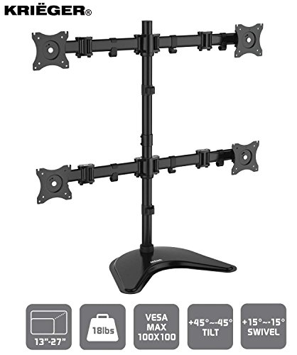 Krieger Quad Monitor Mount, LCD LED Computer Desk Stand, VESA Compatible Fit, Mount 4 Screens Size 13 to 32 inches and 17.6lbs Each, Full Motion Articulating Arms Fully Adjustable