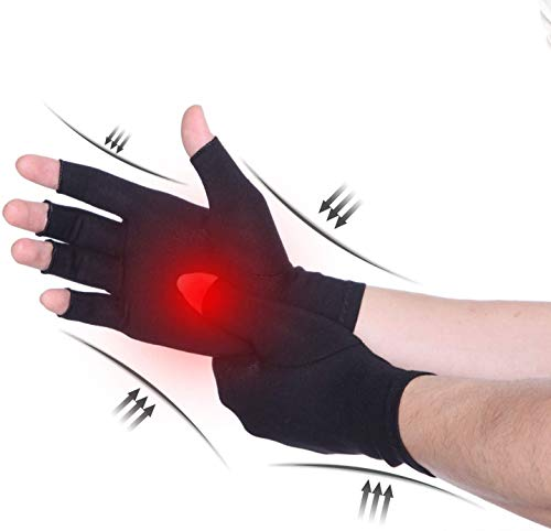 CFR Guantes de Compresión,Cuantes Calientes,para Mujeres Hombres,Tensión Muscular,Escritura por Ordenador,Ofrece Compresión Leve,Aumentar la Circulación Sanguínea,Promover la Curación de Dedo Abierto.