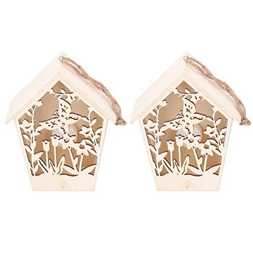Fdit Casa para pájaros para Colgar al Aire Libre, casa para pájaros de Madera, decoración para Interiores y Exteriores, casita para pájaros de jardín con Adornos de Madera de luz cálida