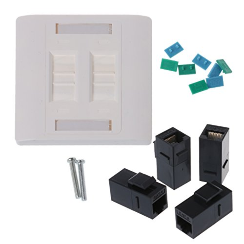Placa de pared con 4 puertos RJ45, 86 mm, cable Ethernet