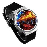 Armbanduhren,Persönlichkeit DIY Kreative Touchscreen LED Uhr Broly Dbs Anime Umgebung Wasserdicht Leuchtende Elektronische Uhr Silber Shell Black Belt