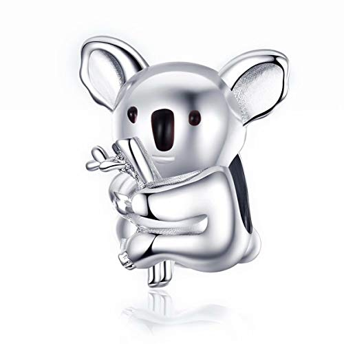 Qings Koala Charms Abalorio 925 Plata de Ley para Hacer Pulseras para Cualquier Estilo o Pulsera de Marca
