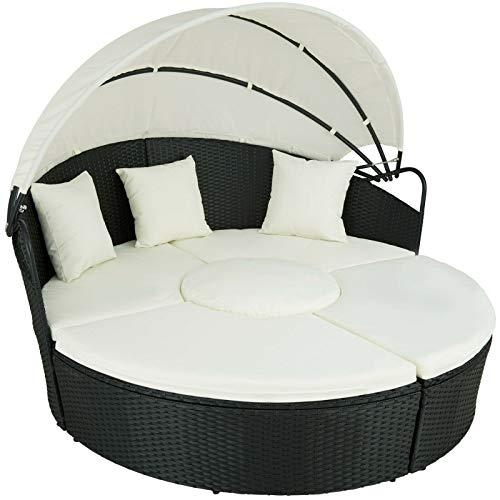 BJYX Alu Rattan Sonneninsel Sonnenliege Sitzgruppe Gartenlounge Gartenmöbel Lounge (Color : Schwarz)