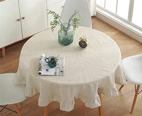 YOUZI Tovaglia Rotonda, tovaglia Beige con Volant Diametro 200 cm Cucina Tavolo da Pranzo Giardino Lavabile Impermeabile