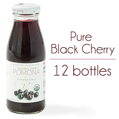 POMONA Pure Black Cherry Juice, 8.4 oz Bottle (Pack of 12), Cold Pressed Organic Juice, Non-GMO, No Sugar Added, Not from Concentrate, Gluten Free, Kosher Certified, Preservative Free