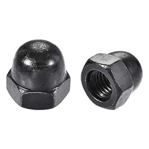 sourcingmap® 10Stk M10 Gewinde Dmr Kuppel Kopf Hartmetall Stahlkappe Hex Hutmuttern schwarz DE de