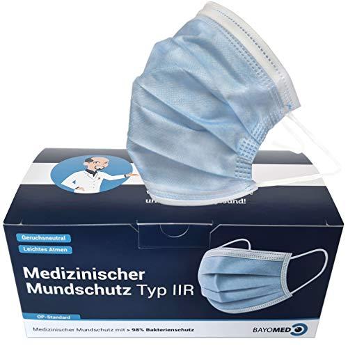 50x Bayoprotect Medizinischer Mundschutz Typ IIR EN 14683 - BFE ≥ 98% - OP Masken CE Zertifiziert - Medizinische Masken - Einwegmasken, Mund und Nasenschutz Bayomed (50 Stück + 1 Nackenhalter)