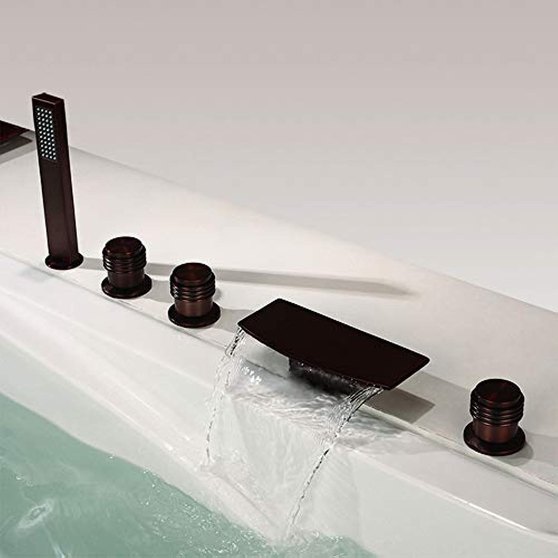 BILLY'S HOME Wasserfall Badewanne Wasserhahn mit Handbrause, 5 Stück Wasserfall Bad Badewanne Wasserhahn Verbreitet Deck Mount Oil Rubbed Bronze