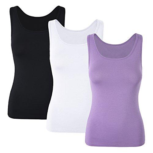 DYLH Damen Komfortabler BH mit integriertem Regal-BH, Stretch, Cami, Sportbekleidung, 1/3er-Pack -  Violett -  X-Large