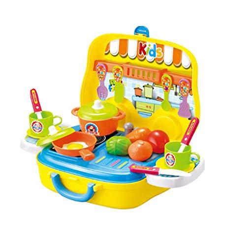 F-blue Pretend Play Kinder Simulation Küche Geschirr Kofferset Kinder Kochgeschirr Dressing Koffer Kinder Kunststoff-Spielzeug-Set