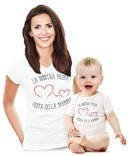 La Nostra Prima Festa della Mamma - Set Coppia Body e Maglia per Madre e Neonati Baby Bianco 6-12 Mesi/Mamma Bianco X-Large