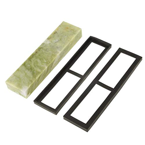 LITAO-XIE, LT-Discs, 1 Set Naturale Smeraldo Knife Sharpening Stone 10000 Grana fine Whetstone Grindstone con gocciolatoio Base Whetstone abrasivi Tools