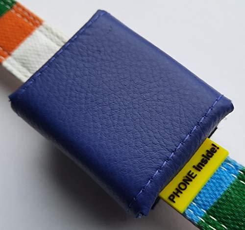 Tracker-Tasche Nappaleder, innen PVC, mit Klettverschluss und flachem Steckverschluss, Adressfach, Hinweislabel Phone Inside!, für GPS Tracker 51x41x15mm (lila)
