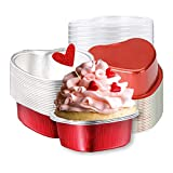 20-Pack Aluminum Foil Mini Cake Pan Cupcake Cup with Lids 100ML, Disposable Baking Cups Pan for Cooking Baking BBQ Grilling Mother's Father's Day Birthday Party Valentine's(Red, Heart Shaped)
