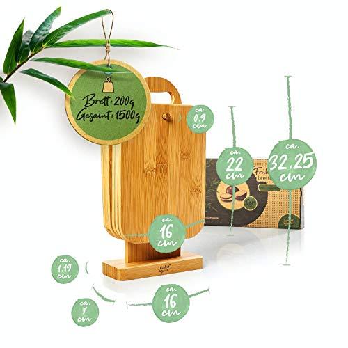 bambuswald© ökologisches 6er Set Frühstücksbrettchen mit Ständer | 100% nachhaltiger Bambus - Frühstücksbretter Schneidebretter Brettchenständer Holzbrett