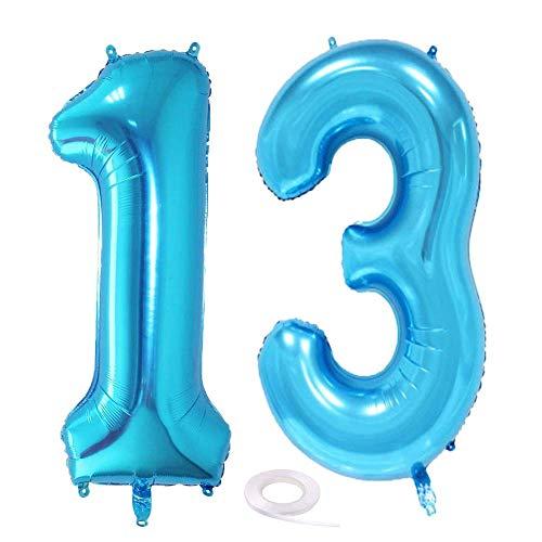 SNOWZAN Luftballon 13. Geburtstag Deko Blau Junge Zahl 13 Riesen Folienballon Helium Nummer 13 Luftballon Große Zahlen 13 Jahre XXL 13. Happy Birthday 32 Zoll Riese Zahl 13Geburtstag für Party