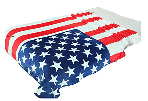 """King's deal- Tm Bed Blanket:79"""" x 59 """" Super Soft Warm Air Conditioning Throw Blanket for Bedroom Living Rooms Sofa,Oversized Travel Throw Cover (USA Flag1)"""