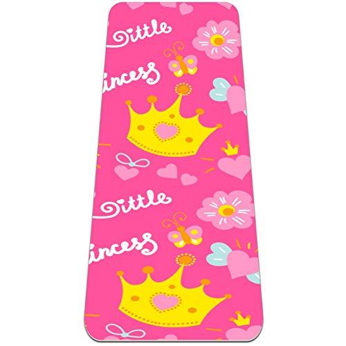 Esterilla de yoga antideslizante de 1/4 de pulgada de grosor con correa de transporte para todo tipo de ejercicio, yoga y pilates (72 'x 24' x 6 mm de grosor) Patrón de corona de princesa rosa