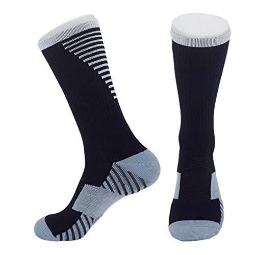 YiyiLai 36-45 Größe Atmungsaktive Herren Männer Sportsocken Laufsocken Hohe Socke Strümpfe Fussball Socken Trekkingsocken Schwarz