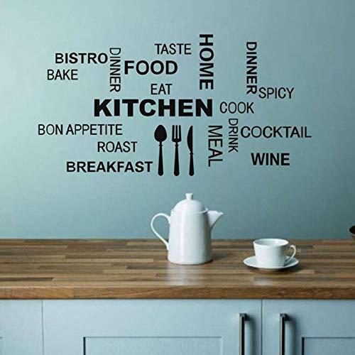 Decors Girlsredhappykitchen Voedsel Mes en Vork Zwart en Wit Gesneden Muurstickers Keuken Restaurant Achtergrond Muurdecoratie Stickers