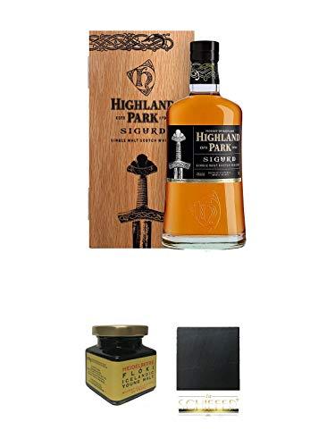 Highland Park Sigurd Single Malt Whisky 0,7 Liter + Heidelbeere Flöki Icelandic Young Malt 150 Gramm Glas + Schiefer Glasuntersetzer eckig ca. 9,5 cm Durchmesser