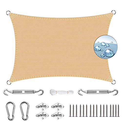 AMZERO Rectangular Vela Sombra 2.5x4m Toldo Vela IKEA Protección UV 95% Exteriores Accesorios de MontajeTodo Incluído para Jardin Terraza Patio Gris, Beige