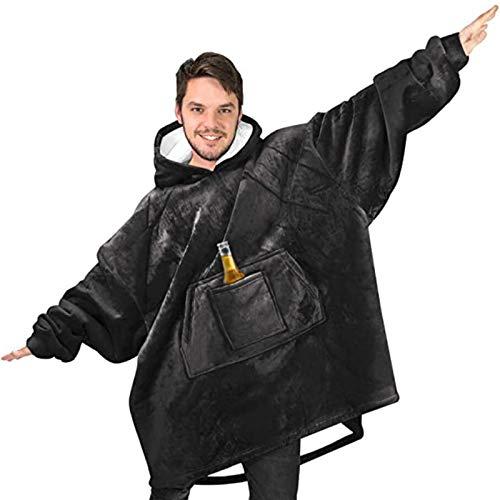 HUOFEIKE Manta con capucha gruesa en ambos lados, sudadera con capucha de sherpa de gran tamaño con bolsillo frontal grande, súper suave y cálida para hombres, mujeres y adolescentes.