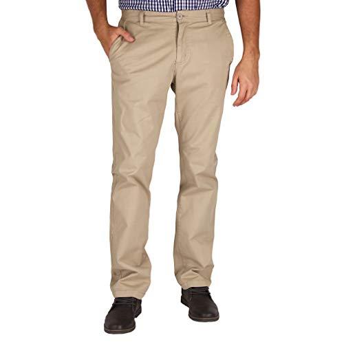 Mens Modern Stretch Fit Flat Front Casual Pants (Light Khaki, Size 34W x 34L)