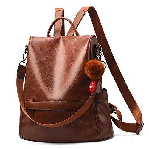 Picapoo Mochila para mujer, de piel sintética, antirrobo, casual, para viajes, escuela, ligera, para hombro, color negro, café, marrón