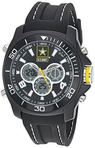 Relógio masculino US Military Analógico-Digital Cronógrafo Pulseira de Silicone Preta da Wrist Armor, Preto/Amarelo
