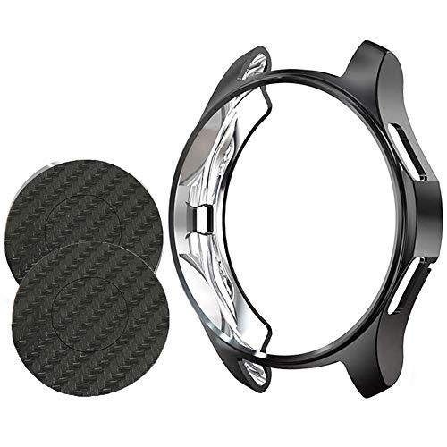 Miimall Schutzhülle für Samsung Galaxy Watch, 42 mm, aus TPU, mit Bildschirmschutzfolie, Rückseite aus Carbon