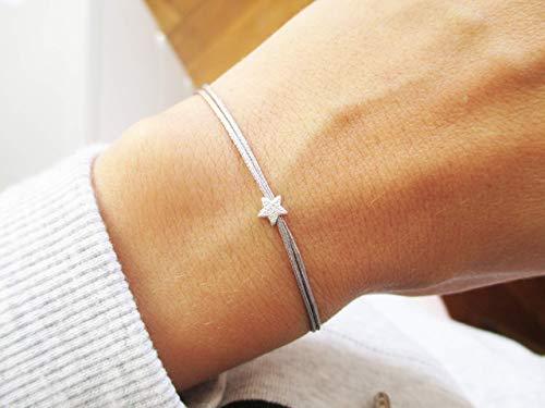 Armband mit Sternchen 925er Sterlingsilber Personalisiert | Sternenkind Stern Sternenmama Gold Grau doppelt