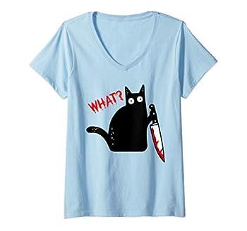 Femme Chat noir meurtrier drôle avec couteau - Chat noir QUOI? T-Shirt avec Col en V