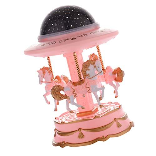 STOBOK Carrusel Caballo Caja de Música Tiovivo Lujo Cambio de Color Luz Led Luminoso Carrusel Giratorio Caballo Proyector Lámpara Regalos de Cumpleaños Rosa