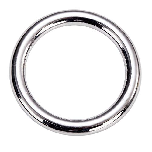 COOHC Metal O Ring 2 Inch Inner Diameter Welded Heavy Duty Seamless Cast Solid Round Rings (Silver 6 Pack)