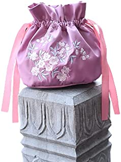 MOMISY Satin Clutch Drawstring Bag Polti Purse for Women and Girls Pull Belt Embroidery Han Clothing Bag Designer Ladies P...