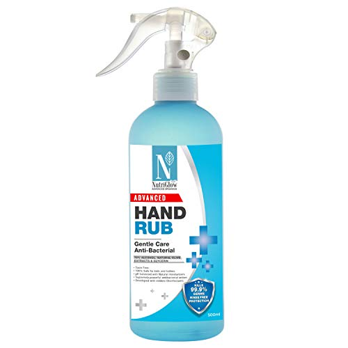 NutriGlow Advanced Organics Hand Rub Sanitizer with Natural Olive Extracts Kills 99.9% Germs & 100% Safe for Kids and Babies| Anti-bacterial, Alcohol Based, Non Sticky Cleanser(500ml)