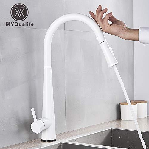 5151BuyWorld waterkraan met sensor, wit, keukenarmatuur, aanraakgevoelig, touchscreen, mengkraan voor keuken met touch-sensor, keukenkraan