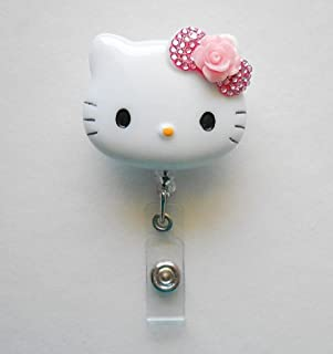 LOVEKITTY 3D Hello Cutie Blinged Out Kitty Inspired Rhinestone Retractable Badge Reel/Name Badges/ID Badge Holder (Rose Flower)